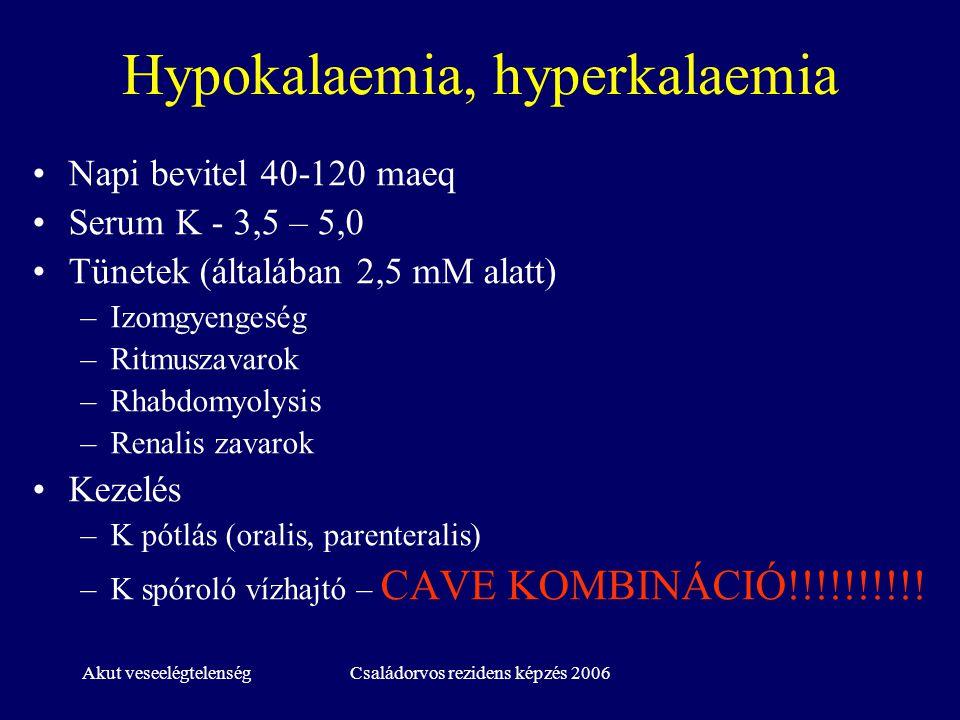 Akut veseelégtelenségCsaládorvos rezidens képzés 2006 Hypokalaemia, hyperkalaemia Napi bevitel 40-120 maeq Serum K - 3,5 – 5,0 Tünetek (általában 2,5