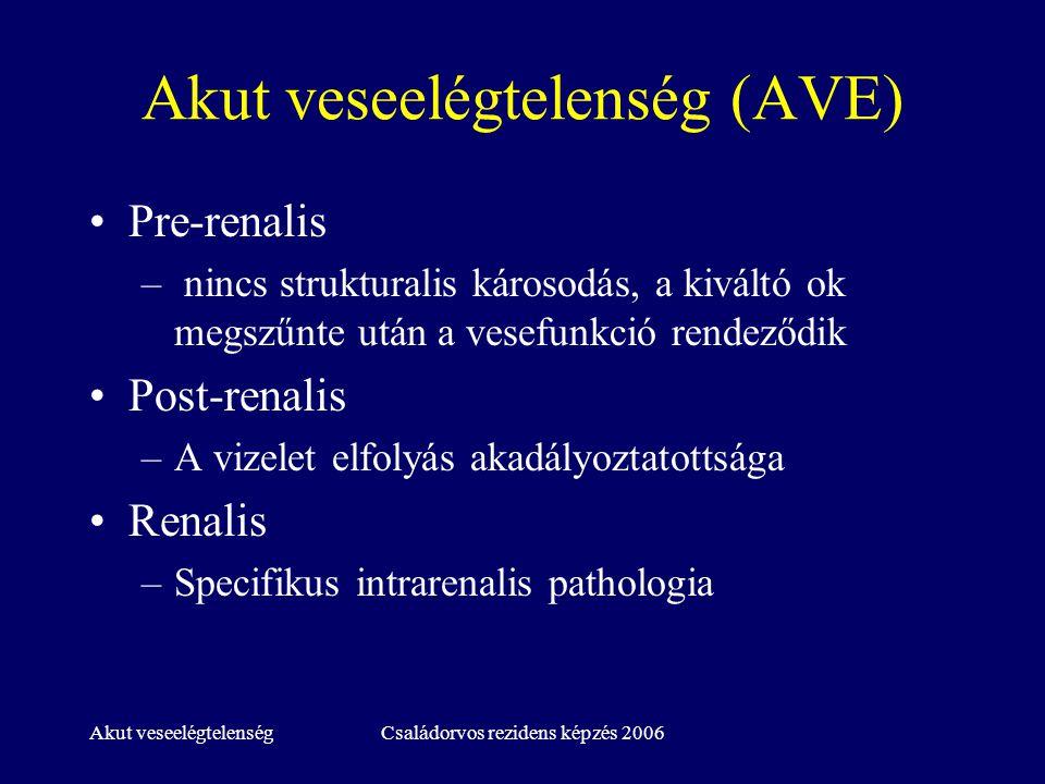 Akut veseelégtelenségCsaládorvos rezidens képzés 2006 Pre-renalis AVE Tényleges folyadékvesztés –Vérzés, hasmenés, hányás, excessiv diurézis - diuretikum –ozmotikus diuresis (diabetes ) Extracell folyadékszekvesztráció –Pancreatitis, crush syndroma, ileus, májbetegség A keringő vérvolumen és az érpálya volumene közötti inkongruencia –nagyfokú perifériás vazodilatáció (antihypertenzív szerek) –szepszis, májcirrhosis Komplex kardiovaszk.