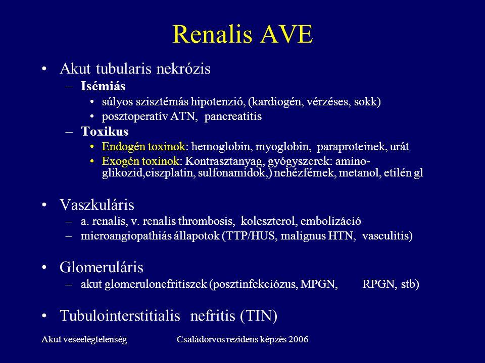 Akut veseelégtelenségCsaládorvos rezidens képzés 2006 Renalis AVE Akut tubularis nekrózis –Isémiás súlyos szisztémás hipotenzió, (kardiogén, vérzéses,