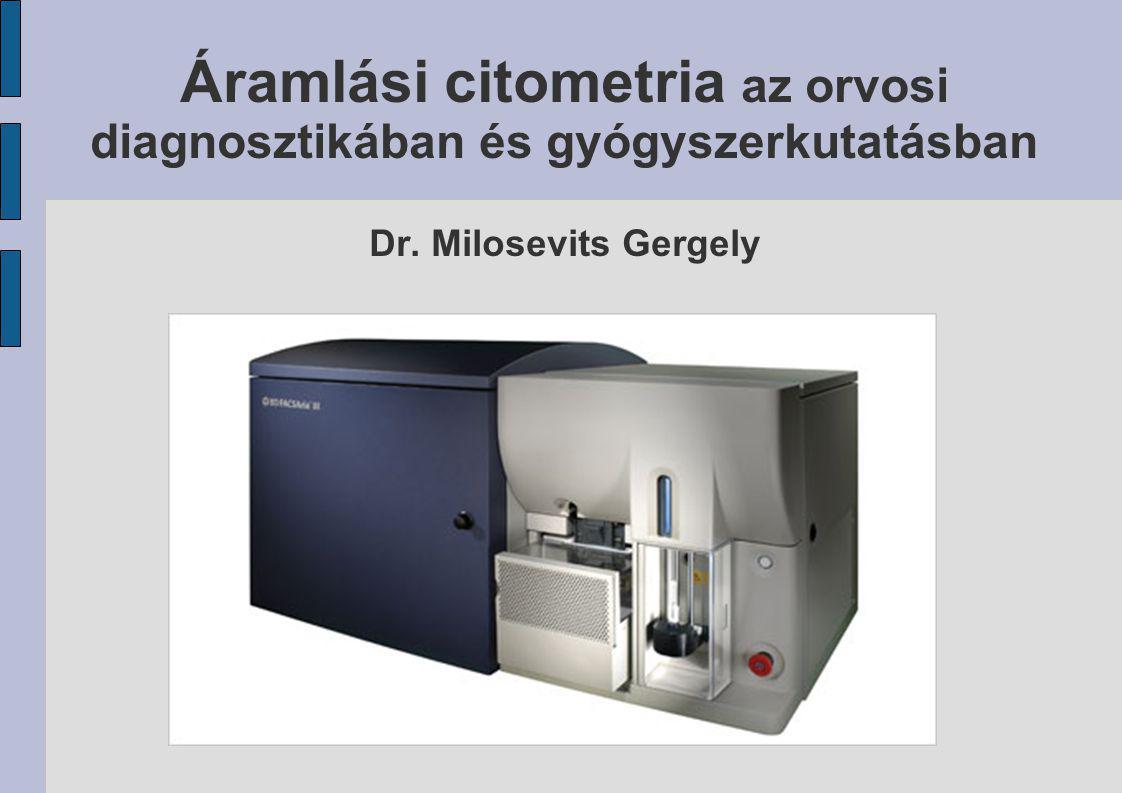 A jövő lehetőségei ZÁRT RENDSZEREK: Imaging flow cytometry Morfológiai anamnézist is lehetővé tesz: az áramló részecskékről képfelvétel készül NYÍLT RENDSZEREK: LSC: Laser scanning cytometry Tárgylemezen lévő sejtek analízise: morfológiai elemzés és fluoreszcencia rögzítése In vivo citometria Tumorsejtek intravasális nyomonkövetése