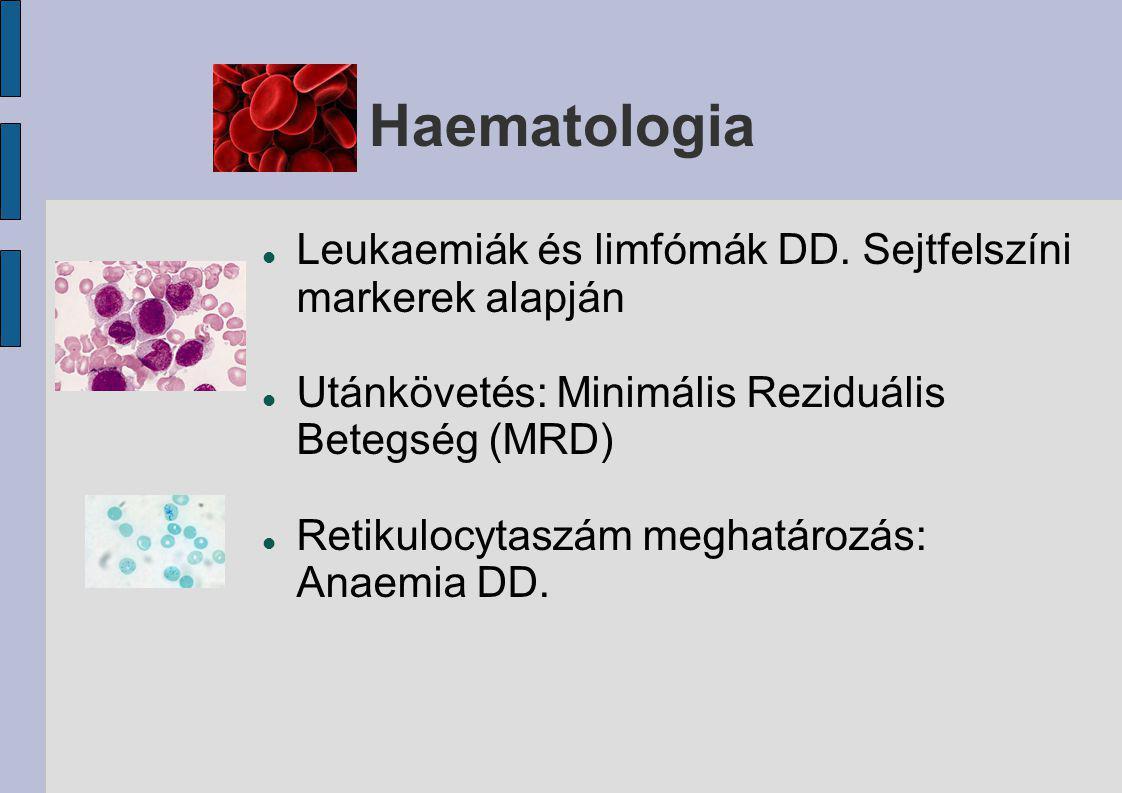 Haematologia Leukaemiák és limfómák DD. Sejtfelszíni markerek alapján Utánkövetés: Minimális Reziduális Betegség (MRD) Retikulocytaszám meghatározás: