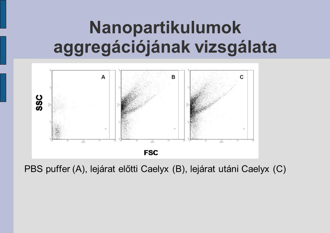 Nanopartikulumok aggregációjának vizsgálata PBS puffer (A), lejárat előtti Caelyx (B), lejárat utáni Caelyx (C)
