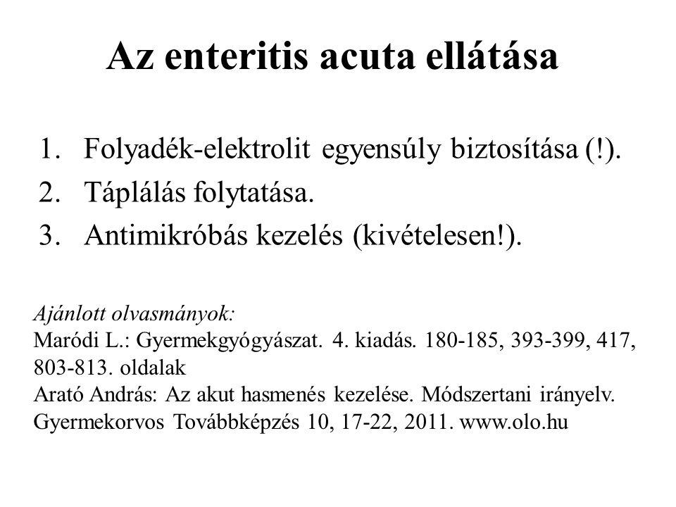Az enteritis acuta ellátása 1.Folyadék-elektrolit egyensúly biztosítása (!). 2.Táplálás folytatása. 3.Antimikróbás kezelés (kivételesen!). Ajánlott ol