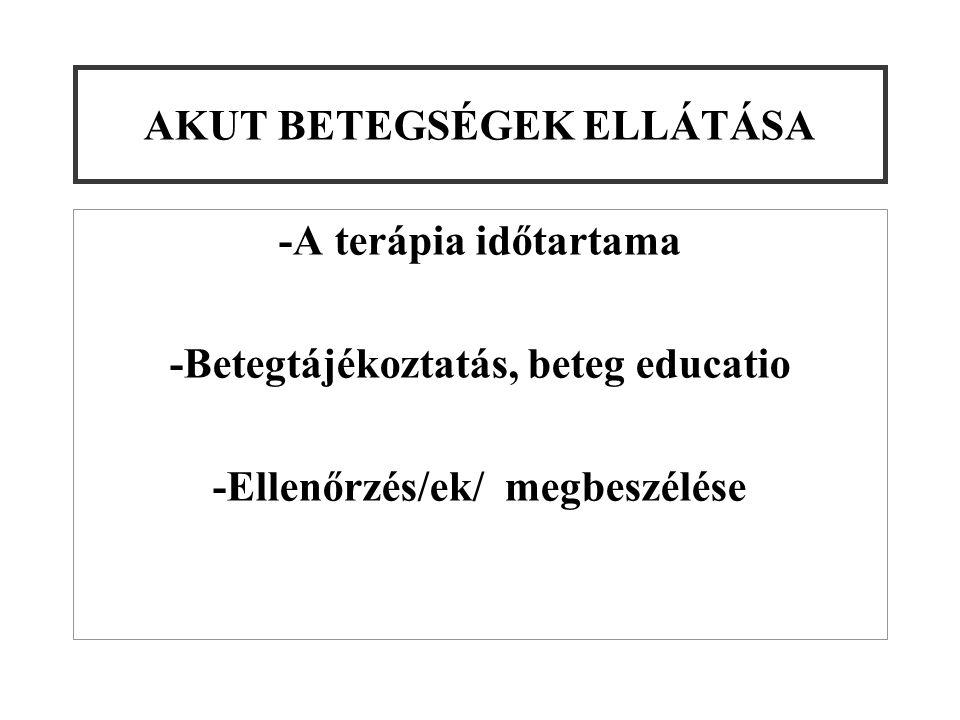 AKUT BETEGSÉGEK ELLÁTÁSA -A terápia időtartama -Betegtájékoztatás, beteg educatio -Ellenőrzés/ek/ megbeszélése