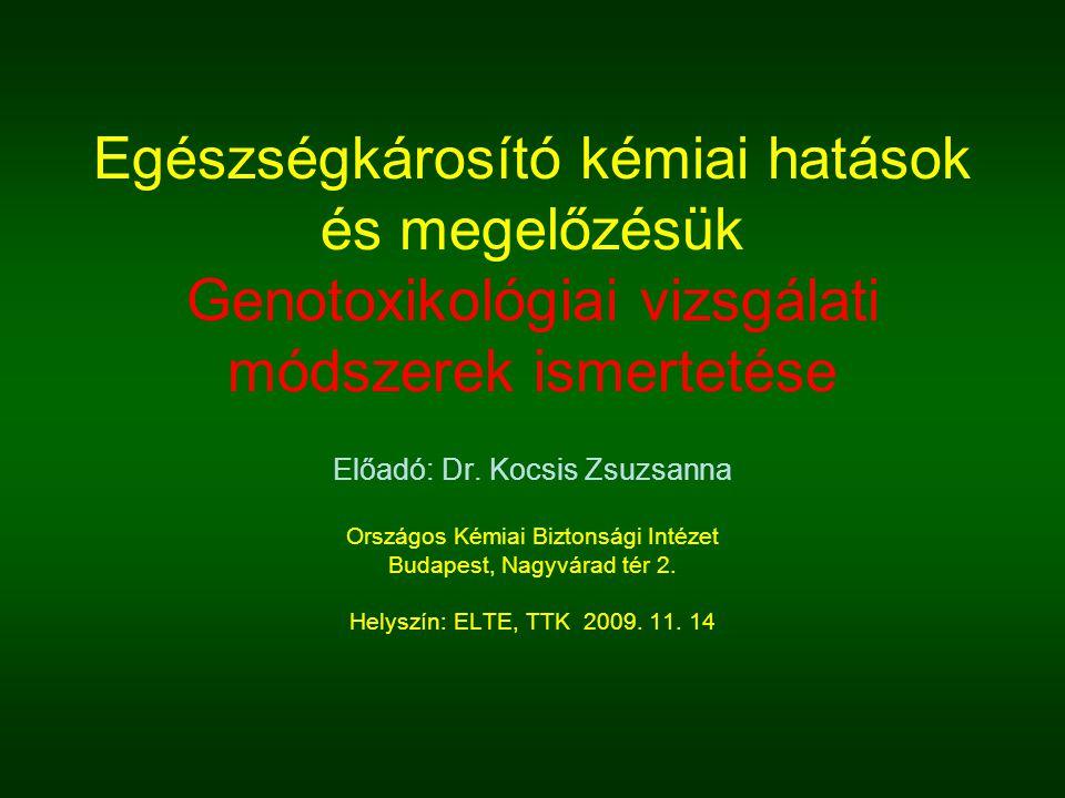 Egészségkárosító kémiai hatások és megelőzésük Genotoxikológiai vizsgálati módszerek ismertetése Előadó: Dr. Kocsis Zsuzsanna Országos Kémiai Biztonsá