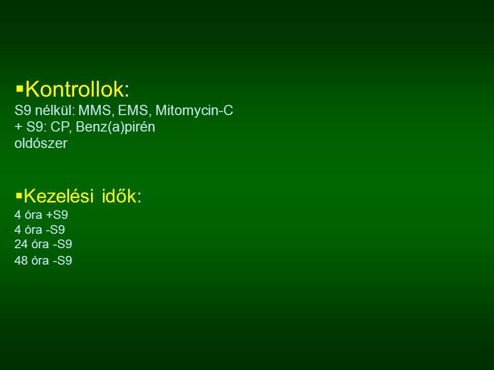  Kontrollok: S9 nélkül: MMS, EMS, Mitomycin-C + S9: CP, Benz(a)pirén oldószer  Kezelési idők: 4 óra +S9 4 óra -S9 24 óra -S9 48 óra -S9
