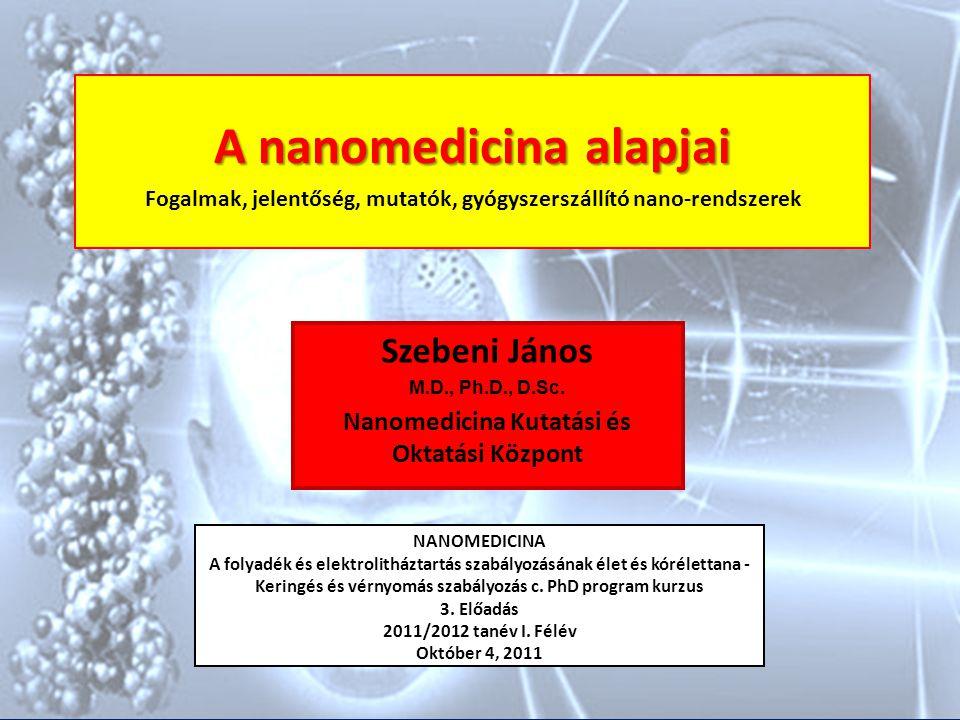 A Nanomedicina Definíciói Nanotechnológia alkalmazása az elméleti és gyakorlati orvostudományban diagnózisban terápiában prevencióban betegség kontrollban orvosi kutatásban Életfolyamatok és betegségek vizsgálata és/vagy gyógyítása a nano-tartományban (10 -9 - 10 -6 m) (a sejten belüli történések, életfolyamatok dimenziója)