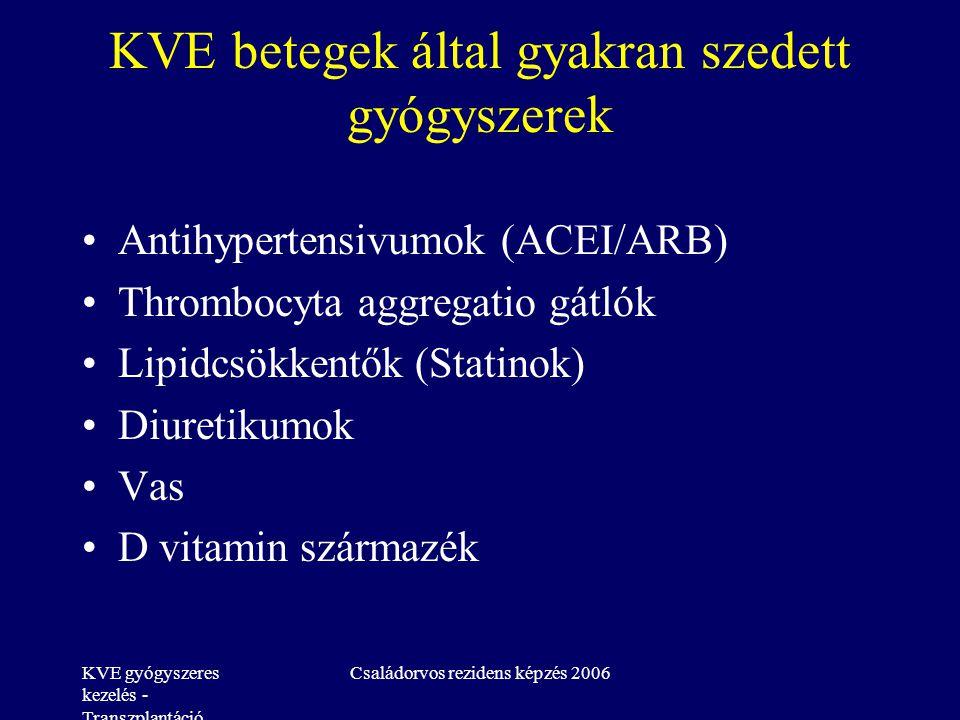 KVE gyógyszeres kezelés - Transzplantáció Családorvos rezidens képzés 2006 KVE betegek által gyakran szedett gyógyszerek Antihypertensivumok (ACEI/ARB) Thrombocyta aggregatio gátlók Lipidcsökkentők (Statinok) Diuretikumok Vas D vitamin származék