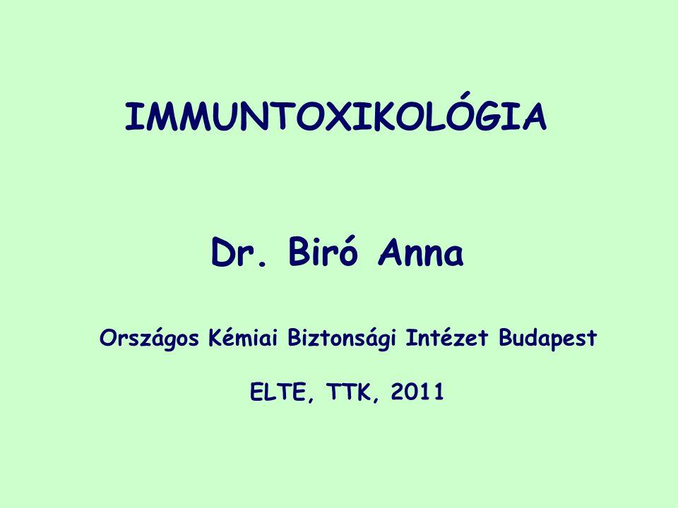 IMMUNTOXIKOLÓGIA Dr. Biró Anna Országos Kémiai Biztonsági Intézet Budapest ELTE, TTK, 2011