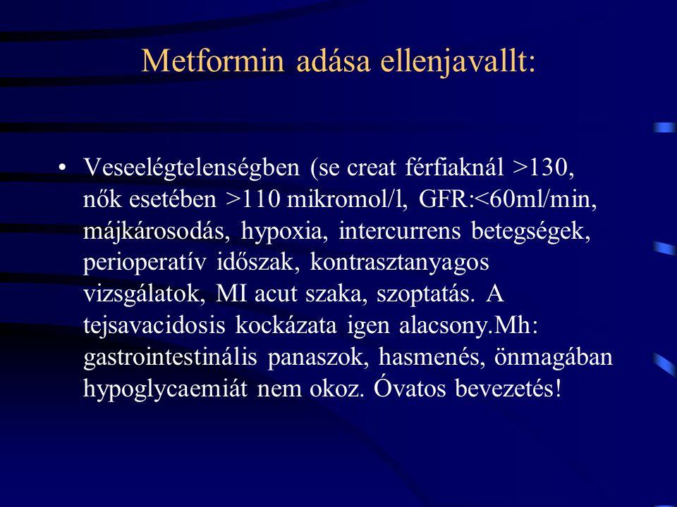 Metformin adása ellenjavallt: Veseelégtelenségben (se creat férfiaknál >130, nők esetében >110 mikromol/l, GFR:<60ml/min, májkárosodás, hypoxia, inter
