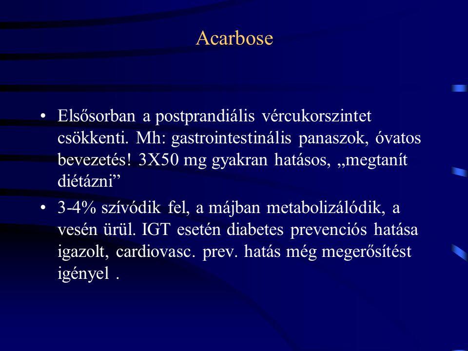 """Acarbose Elsősorban a postprandiális vércukorszintet csökkenti. Mh: gastrointestinális panaszok, óvatos bevezetés! 3X50 mg gyakran hatásos, """"megtanít"""