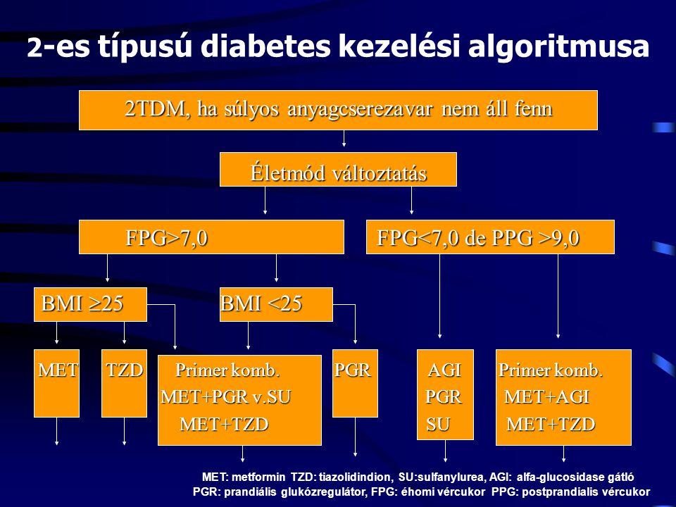 2 -es típusú diabetes kezelési algoritmusa 2TDM, ha súlyos anyagcserezavar nem áll fenn Életmód változtatás FPG>7,0FPG 9,0 FPG>7,0 FPG 9,0 BMI  25BMI