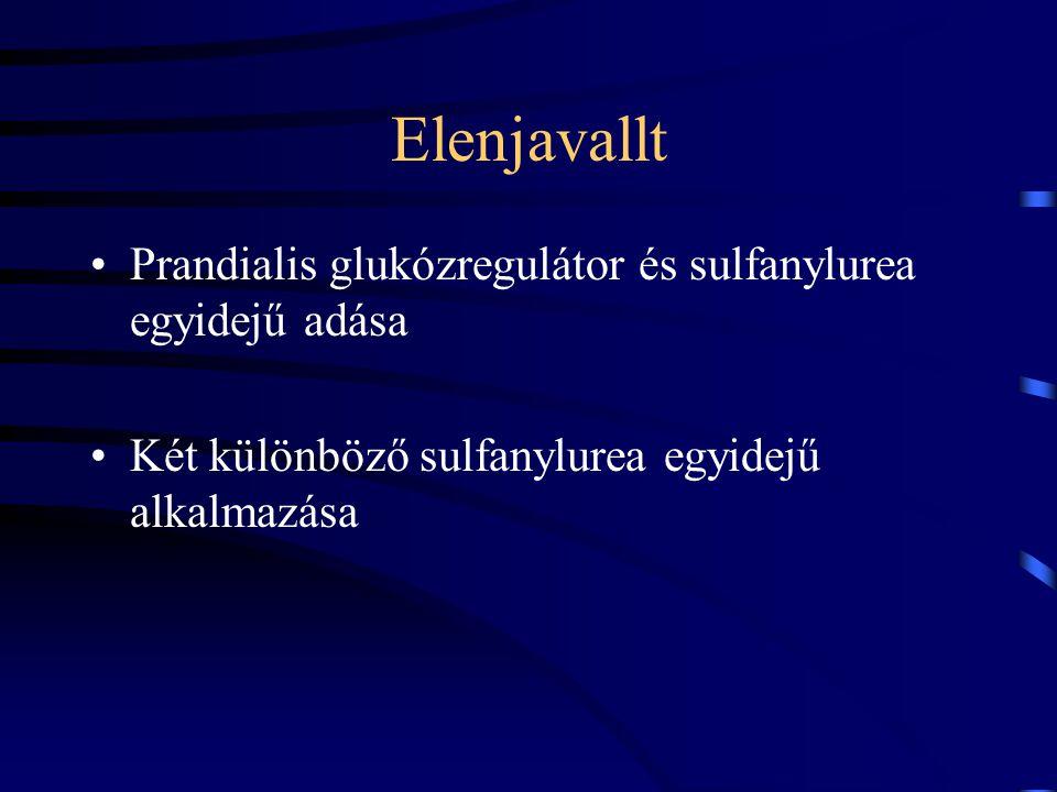 Elenjavallt Prandialis glukózregulátor és sulfanylurea egyidejű adása Két különböző sulfanylurea egyidejű alkalmazása
