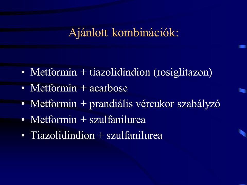 Ajánlott kombinációk: Metformin + tiazolidindion (rosiglitazon) Metformin + acarbose Metformin + prandiális vércukor szabályzó Metformin + szulfanilur
