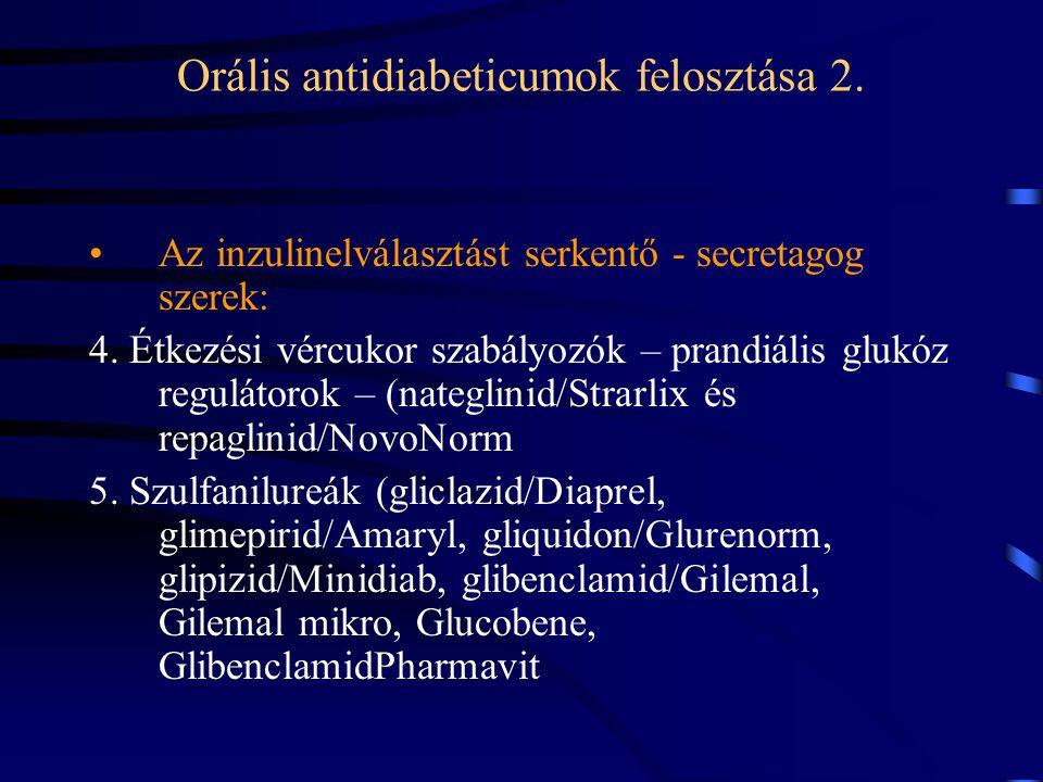Orális antidiabeticumok felosztása 2. Az inzulinelválasztást serkentő - secretagog szerek: 4. Étkezési vércukor szabályozók – prandiális glukóz regulá
