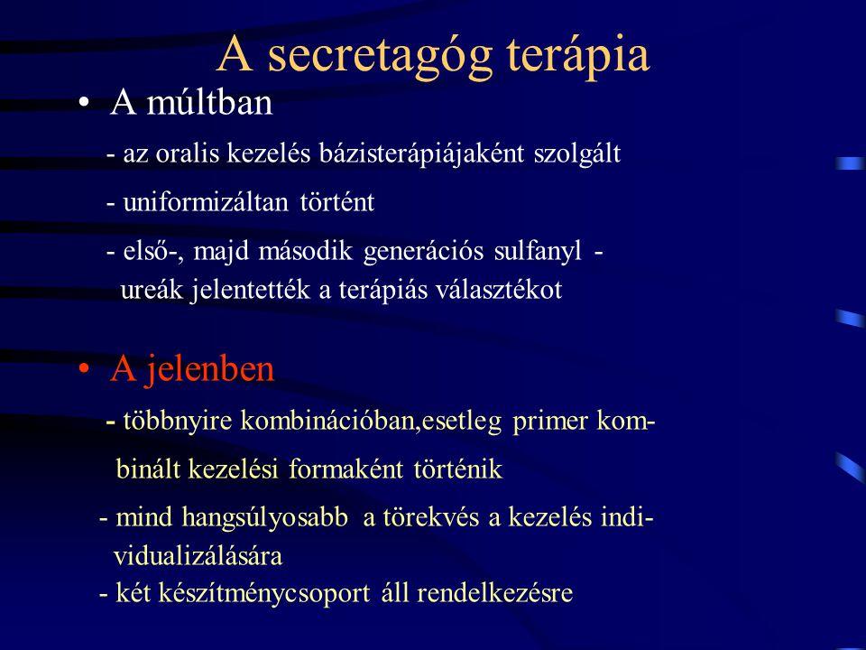 A secretagóg terápia A múltban - az oralis kezelés bázisterápiájaként szolgált - uniformizáltan történt - első-, majd második generációs sulfanyl - ur