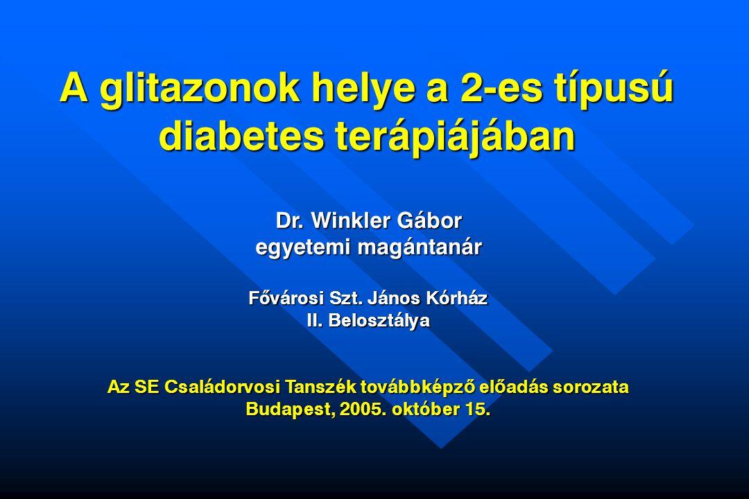 A 2-es típusú diabetes mellitus fontosabb metabolikus rendellenességeinek farmakológiai megközelítése Thiazolidindionok (TZD) Thiazolidindionok növelik a glukózfelvételt Vázizomzat Csökkent glukózfelvétel Acarbose Leptin szint csökkentés Thiazolidindionok .