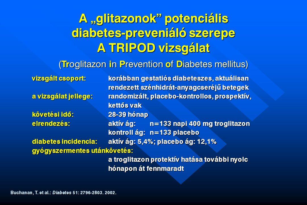 """A """"glitazonok"""" potenciális diabetes-preveniáló szerepe vizsgált csoport:korábban gestatiós diabeteszes, aktuálisan rendezett szénhidrát-anyagcseréj ű"""