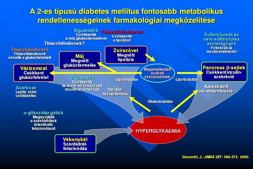 """A """"glitazonok potenciális diabetes-preveniáló szerepe vizsgált csoport:korábban gestatiós diabeteszes, aktuálisan rendezett szénhidrát-anyagcseréj ű betegek a vizsgálat jellege: randomizált, placebo-kontrollos, prospektív, kettôs vak követési idô: 28-39 hónap elrendezés: aktív ág: n=133 napi 400 mg troglitazon kontroll ág: n=133 placebo diabetes incidencia: aktív ág: 5,4%; placebo ág: 12,1% gyógyszermentes utánkövetés: a troglitazon protektív hatása további nyolc hónapon át fennmaradt Buchanan, T."""