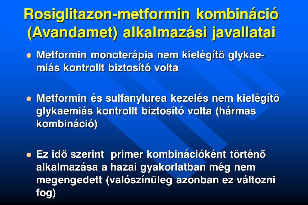 Rosiglitazon-metformin kombináció (Avandamet) alkalmazási javallatai Metformin monoterápia nem kielégít ő glykae- miás kontrollt biztosító volta Metfo