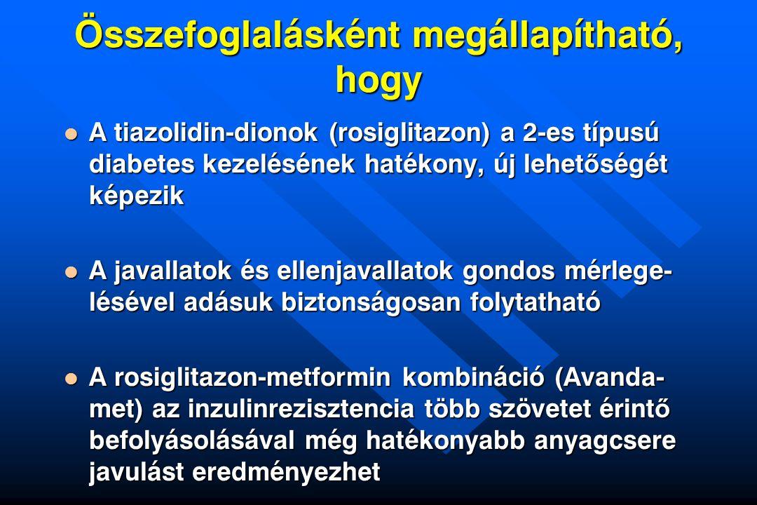 Összefoglalásként megállapítható, hogy A tiazolidin-dionok (rosiglitazon) a 2-es típusú diabetes kezelésének hatékony, új lehet ő ségét képezik A tiaz