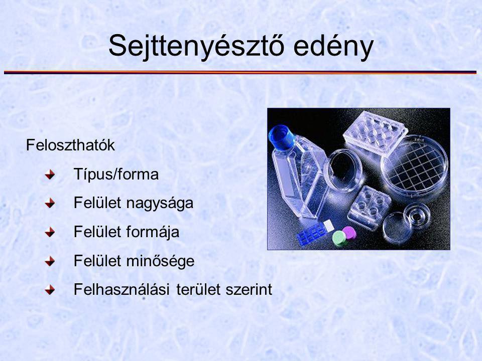 Sejttenyésztő edény Feloszthatók Típus/forma Felület nagysága Felület formája Felület minősége Felhasználási terület szerint