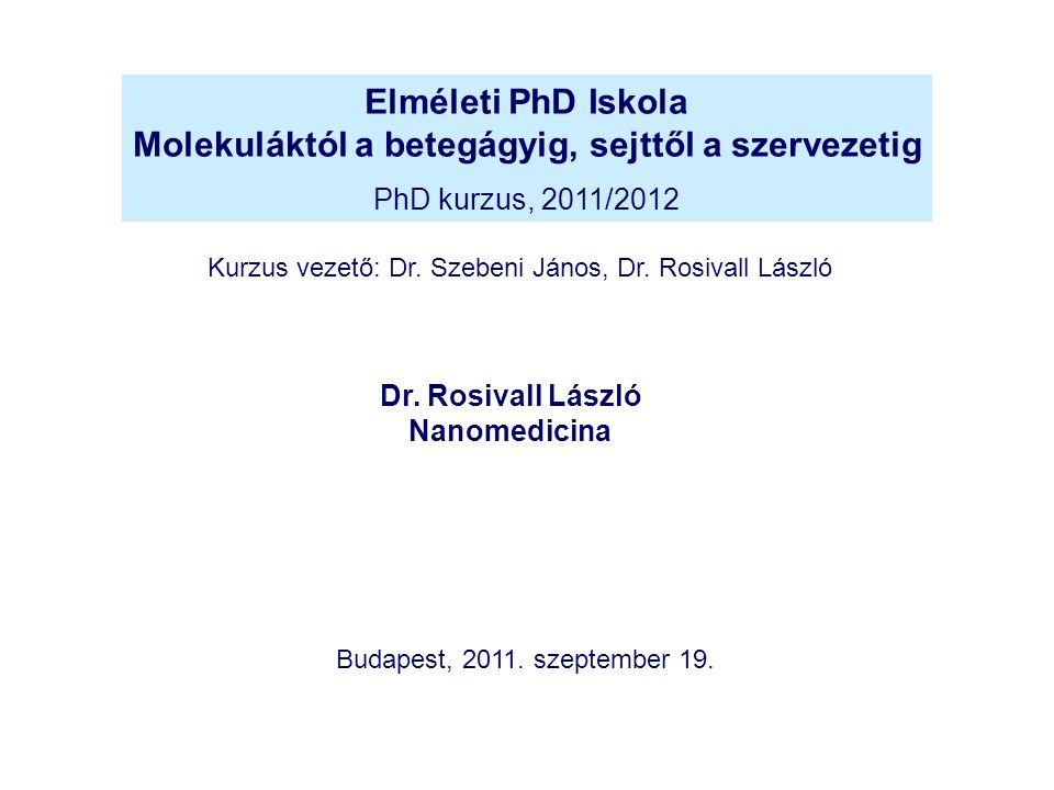 Elméleti PhD Iskola Molekuláktól a betegágyig, sejttől a szervezetig PhD kurzus, 2011/2012 Dr. Rosivall László Nanomedicina Kurzus vezető: Dr. Szebeni