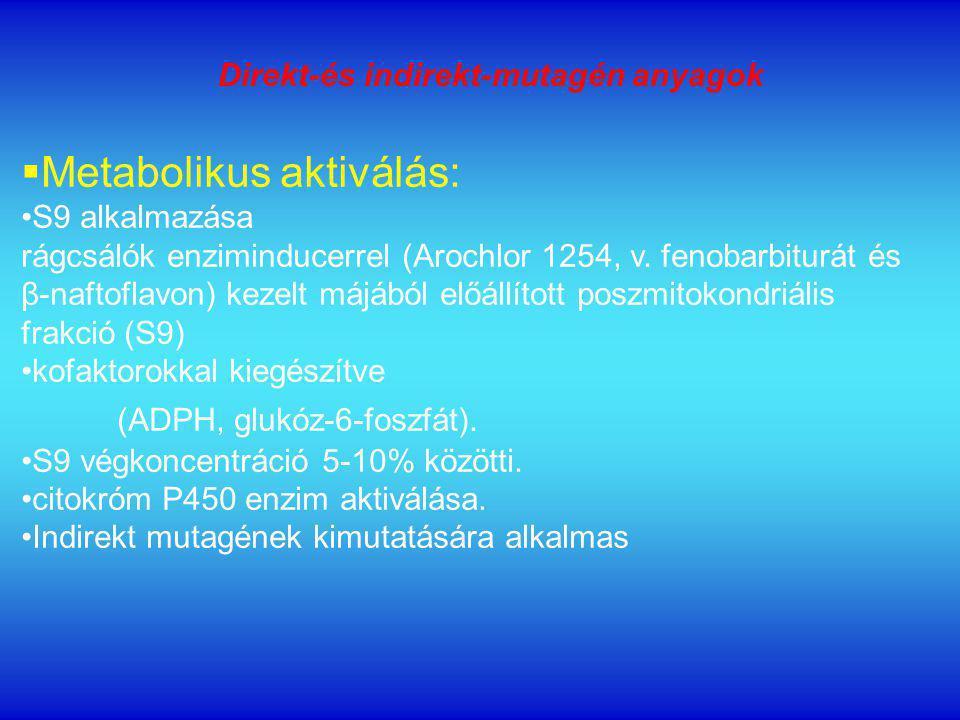  Metabolikus aktiválás: S9 alkalmazása rágcsálók enziminducerrel (Arochlor 1254, v.