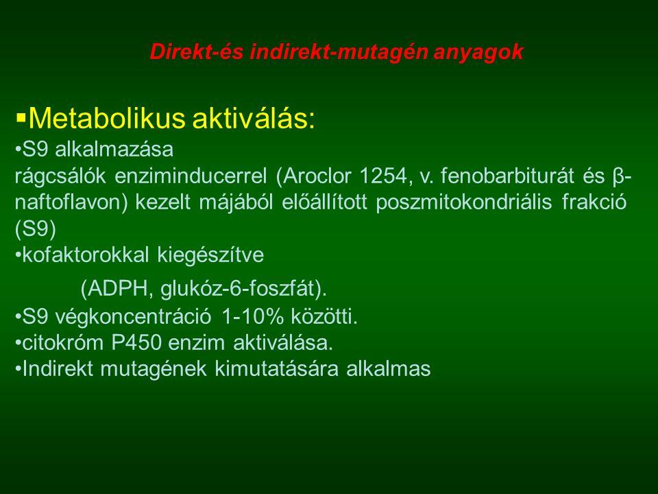  Metabolikus aktiválás: S9 alkalmazása rágcsálók enziminducerrel (Aroclor 1254, v.