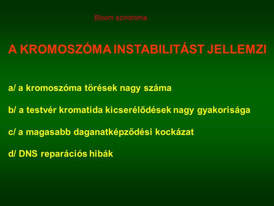 A KROMOSZÓMA INSTABILITÁST JELLEMZI a/ a kromoszóma törések nagy száma b/ a testvér kromatida kicserélődések nagy gyakorisága c/ a magasabb daganatképződési kockázat d/ DNS reparációs hibák Bloom szindróma