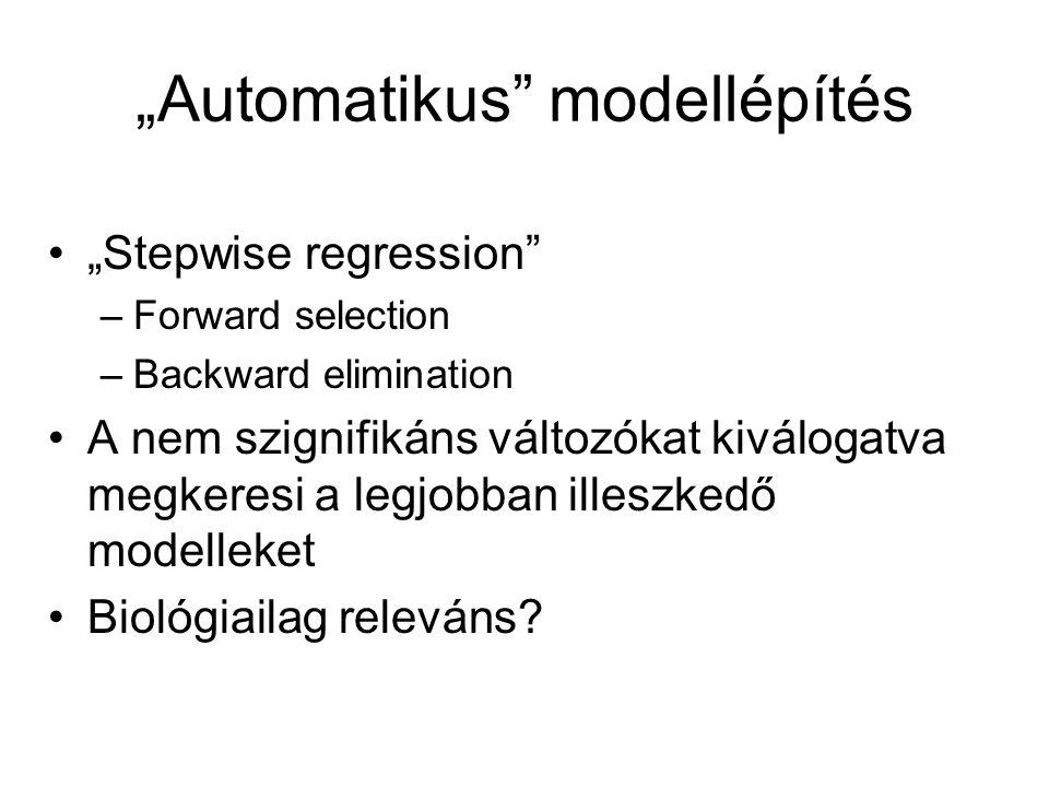 """""""Automatikus"""" modellépítés """"Stepwise regression"""" –Forward selection –Backward elimination A nem szignifikáns változókat kiválogatva megkeresi a legjob"""