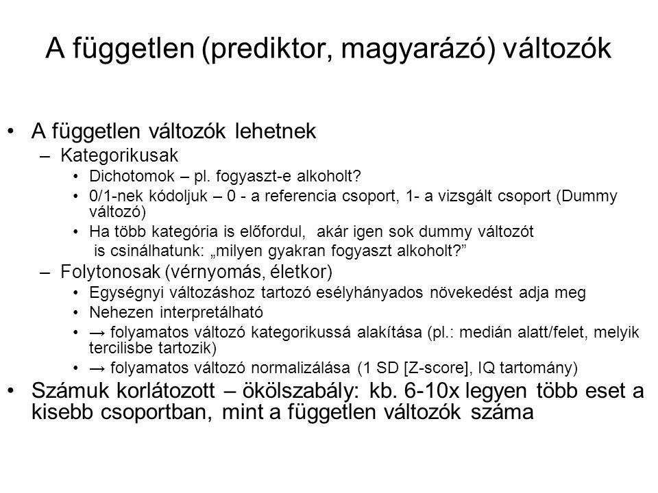 A független (prediktor, magyarázó) változók A független változók lehetnek –Kategorikusak Dichotomok – pl. fogyaszt-e alkoholt? 0/1-nek kódoljuk – 0 -
