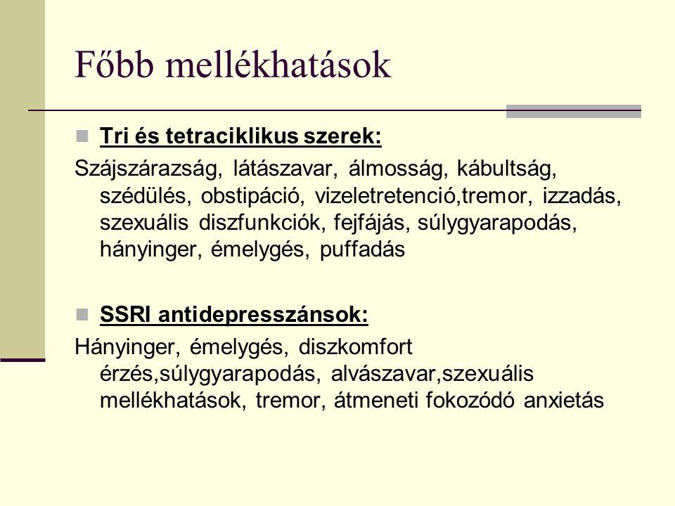 Főbb mellékhatások Tri és tetraciklikus szerek: Szájszárazság, látászavar, álmosság, kábultság, szédülés, obstipáció, vizeletretenció,tremor, izzadás, szexuális diszfunkciók, fejfájás, súlygyarapodás, hányinger, émelygés, puffadás SSRI antidepresszánsok: Hányinger, émelygés, diszkomfort érzés,súlygyarapodás, alvászavar,szexuális mellékhatások, tremor, átmeneti fokozódó anxietás