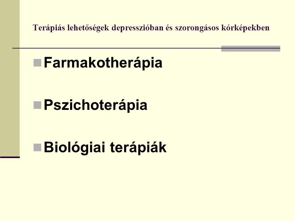 Terápiás lehetőségek depresszióban és szorongásos kórképekben Farmakotherápia Pszichoterápia Biológiai terápiák