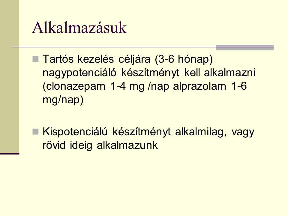 Alkalmazásuk Tartós kezelés céljára (3-6 hónap) nagypotenciáló készítményt kell alkalmazni (clonazepam 1-4 mg /nap alprazolam 1-6 mg/nap) Kispotenciál