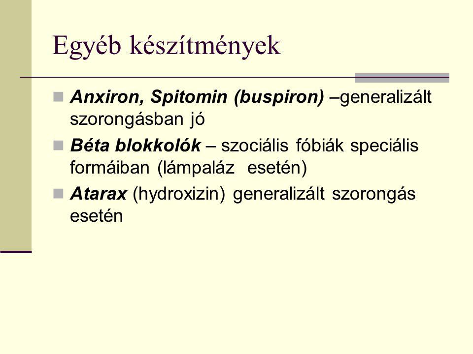 Egyéb készítmények Anxiron, Spitomin (buspiron) –generalizált szorongásban jó Béta blokkolók – szociális fóbiák speciális formáiban (lámpaláz esetén) Atarax (hydroxizin) generalizált szorongás esetén
