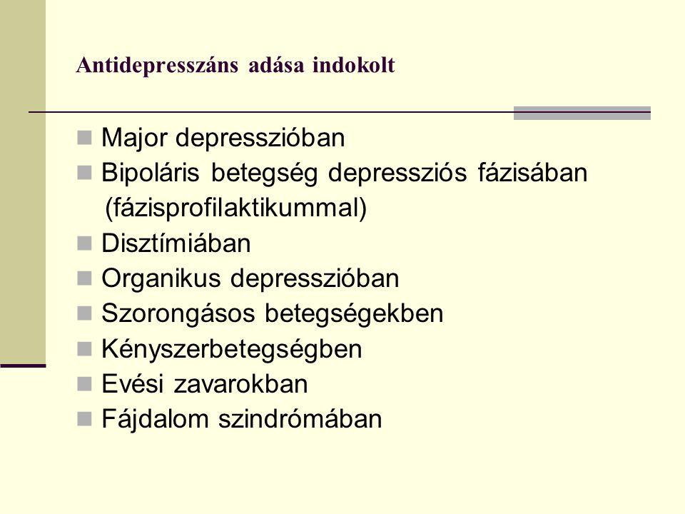 Antidepresszáns adása indokolt Major depresszióban Bipoláris betegség depressziós fázisában (fázisprofilaktikummal) Disztímiában Organikus depresszióban Szorongásos betegségekben Kényszerbetegségben Evési zavarokban Fájdalom szindrómában