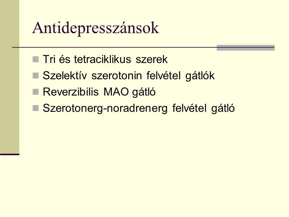 Klasszikus felvételgátlók (tri és tetraciklikus szerek) Szerotonin és/vagy noradrenalin reaptake gátlók Sok esetben veszélyes antikolinerg, antihistaminerg alfa 1 bénító mellékhatások Egyéb betegségek fennállása, gyógyszeres kezelése és az idős kor esetén a mellékhatások és a lehetséges interakciók jelentős kockázattal bírnak Toxicitásuk magas, túladagolásuk veszélyes Anafranil (clomipramin 5HT)Ludiomil, Maprolu (marpotilin Na) Noveril (dibenzepin) Tolvon(mianserin Na) Teperin (amitriptylin)