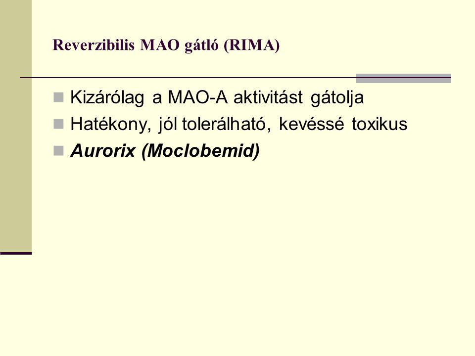 Reverzibilis MAO gátló (RIMA) Kizárólag a MAO-A aktivitást gátolja Hatékony, jól tolerálható, kevéssé toxikus Aurorix (Moclobemid)