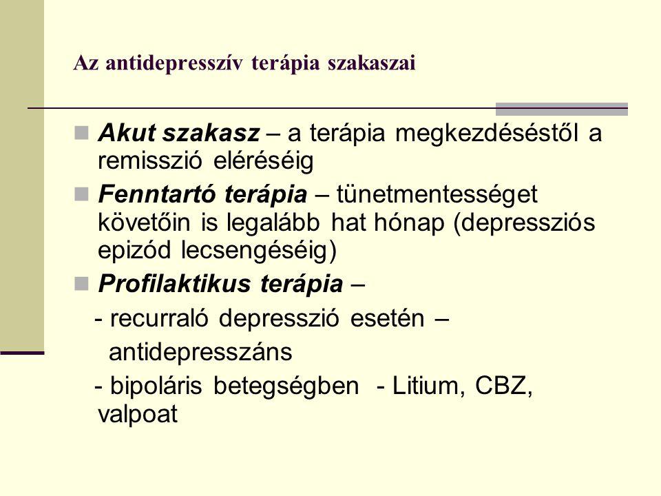 Az antidepresszív terápia szakaszai Akut szakasz – a terápia megkezdéséstől a remisszió eléréséig Fenntartó terápia – tünetmentességet követőin is legalább hat hónap (depressziós epizód lecsengéséig) Profilaktikus terápia – - recurraló depresszió esetén – antidepresszáns - bipoláris betegségben - Litium, CBZ, valpoat
