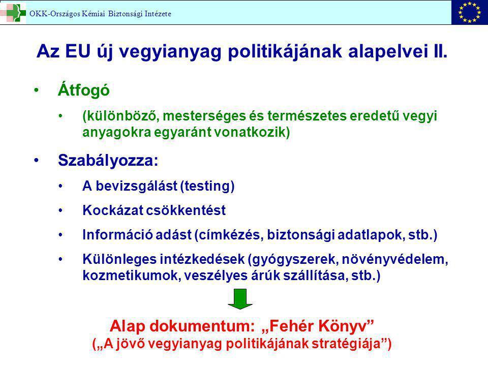 OKK-Országos Kémiai Biztonsági Intézete Az EU új vegyianyag politikájának alapelvei II. Átfogó (különböző, mesterséges és természetes eredetű vegyi an