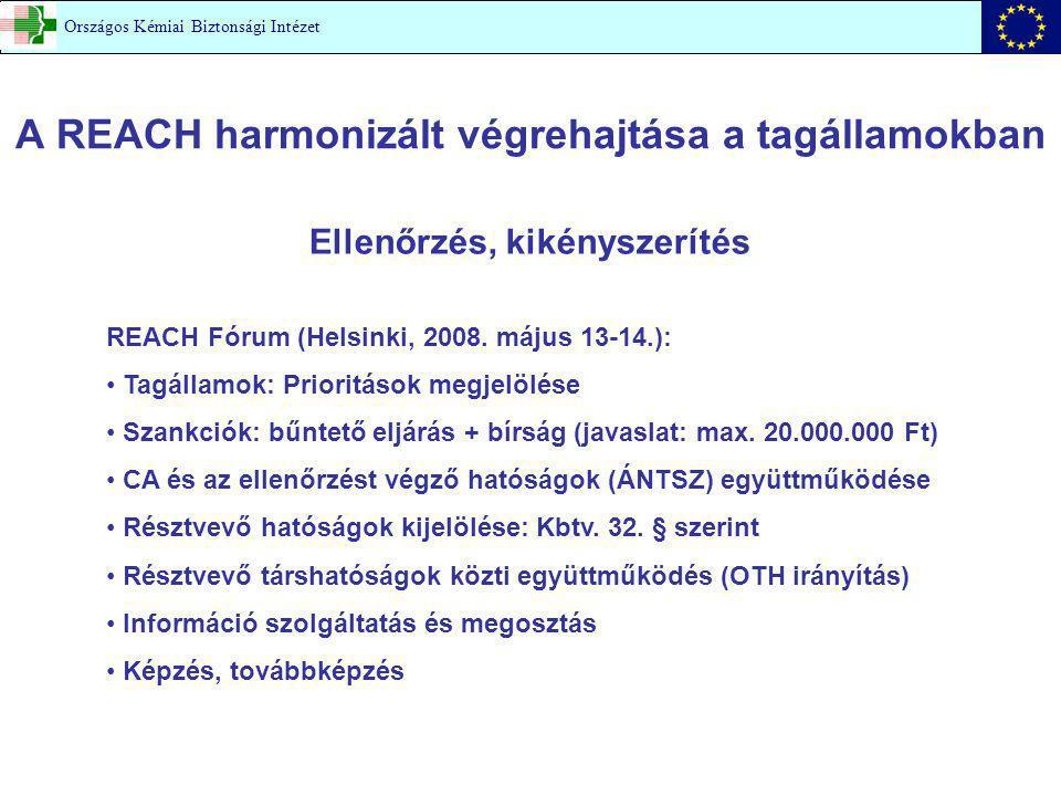 A REACH harmonizált végrehajtása a tagállamokban Ellenőrzés, kikényszerítés REACH Fórum (Helsinki, 2008. május 13-14.): Tagállamok: Prioritások megjel