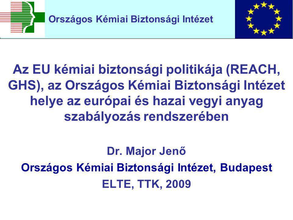 Az EU kémiai biztonsági politikája (REACH, GHS), az Országos Kémiai Biztonsági Intézet helye az európai és hazai vegyi anyag szabályozás rendszerében Dr.