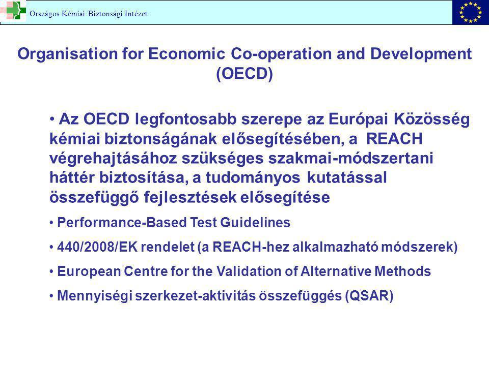 Organisation for Economic Co-operation and Development (OECD) Országos Kémiai Biztonsági Intézet Az OECD legfontosabb szerepe az Európai Közösség kémiai biztonságának elősegítésében, a REACH végrehajtásához szükséges szakmai-módszertani háttér biztosítása, a tudományos kutatással összefüggő fejlesztések elősegítése Performance-Based Test Guidelines 440/2008/EK rendelet (a REACH-hez alkalmazható módszerek) European Centre for the Validation of Alternative Methods Mennyiségi szerkezet-aktivitás összefüggés (QSAR)