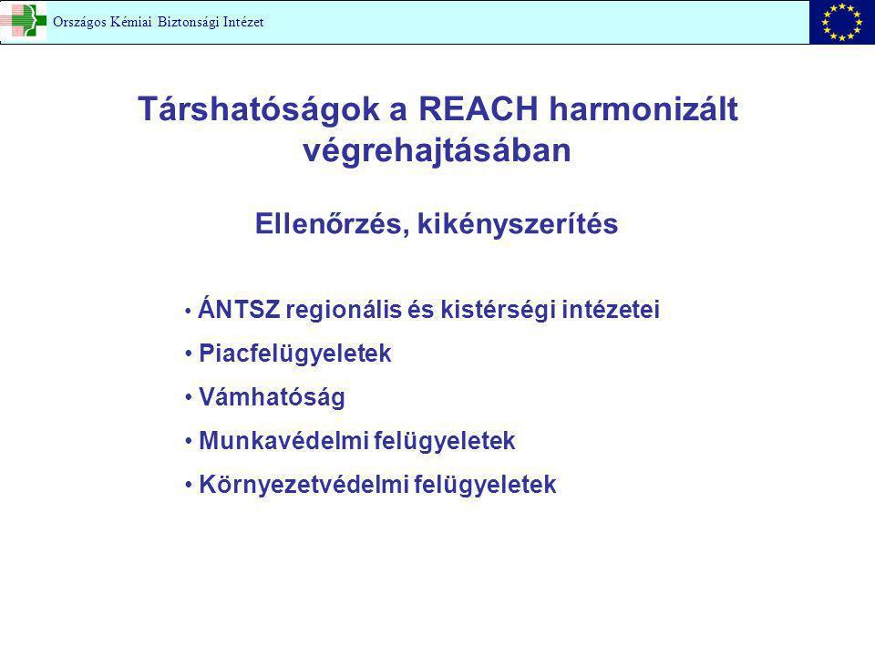 Társhatóságok a REACH harmonizált végrehajtásában Ellenőrzés, kikényszerítés ÁNTSZ regionális és kistérségi intézetei Piacfelügyeletek Vámhatóság Munkavédelmi felügyeletek Környezetvédelmi felügyeletek Országos Kémiai Biztonsági Intézet