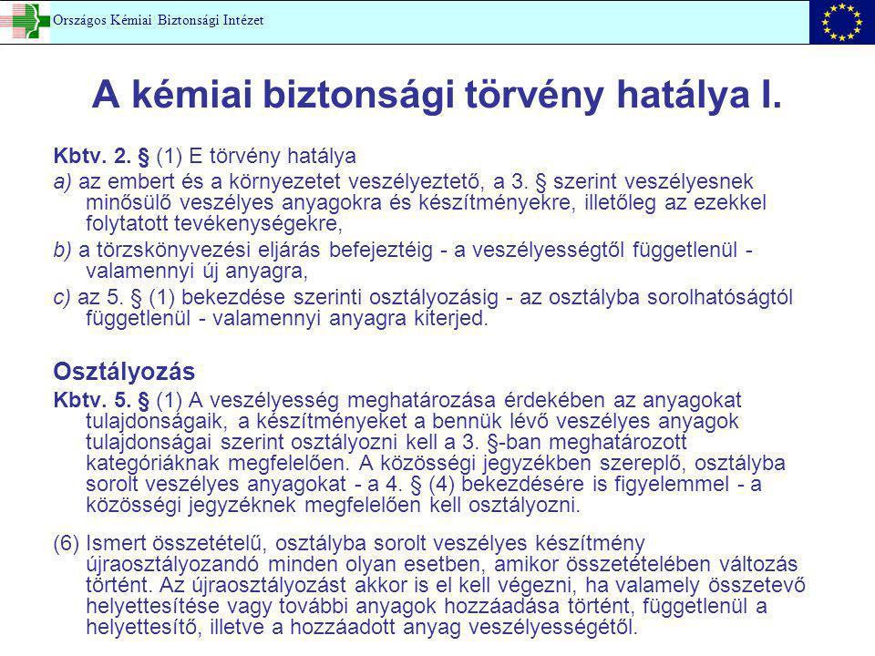 A kémiai biztonsági törvény hatálya I.Kbtv. 2.