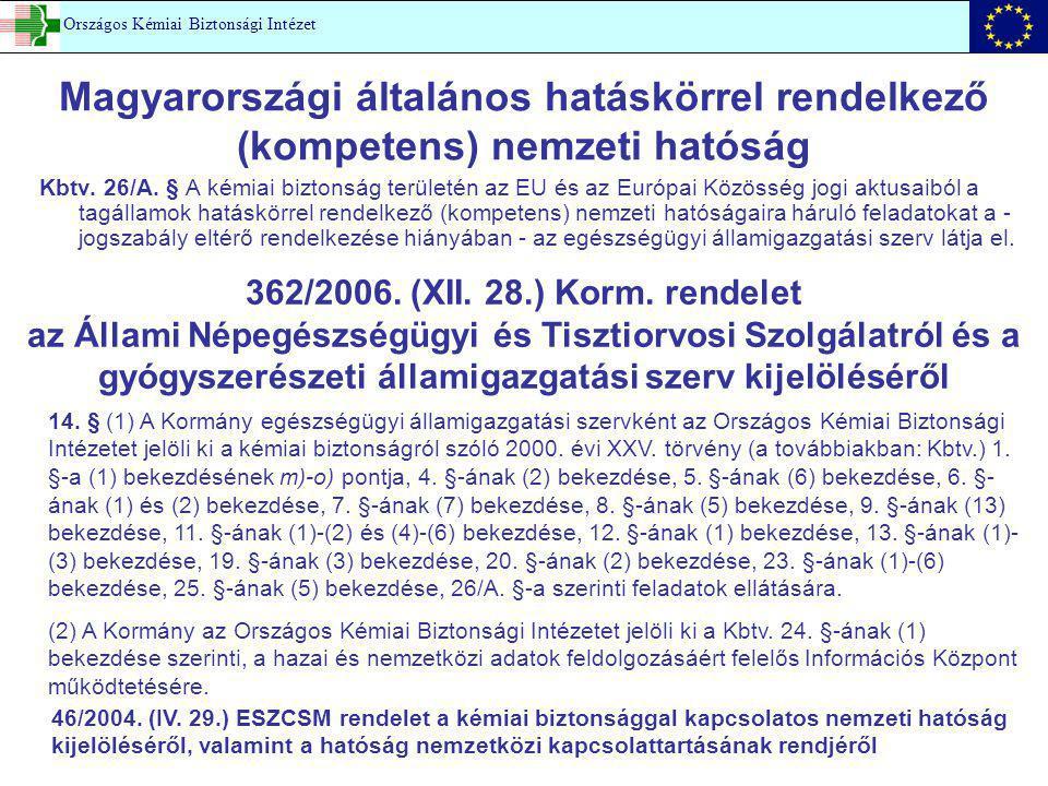 Magyarországi általános hatáskörrel rendelkező (kompetens) nemzeti hatóság Kbtv. 26/A. § A kémiai biztonság területén az EU és az Európai Közösség jog