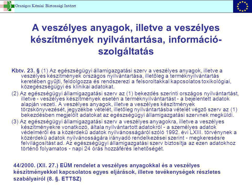 A veszélyes anyagok, illetve a veszélyes készítmények nyilvántartása, információ- szolgáltatás Kbtv. 23. § (1) Az egészségügyi államigazgatási szerv a