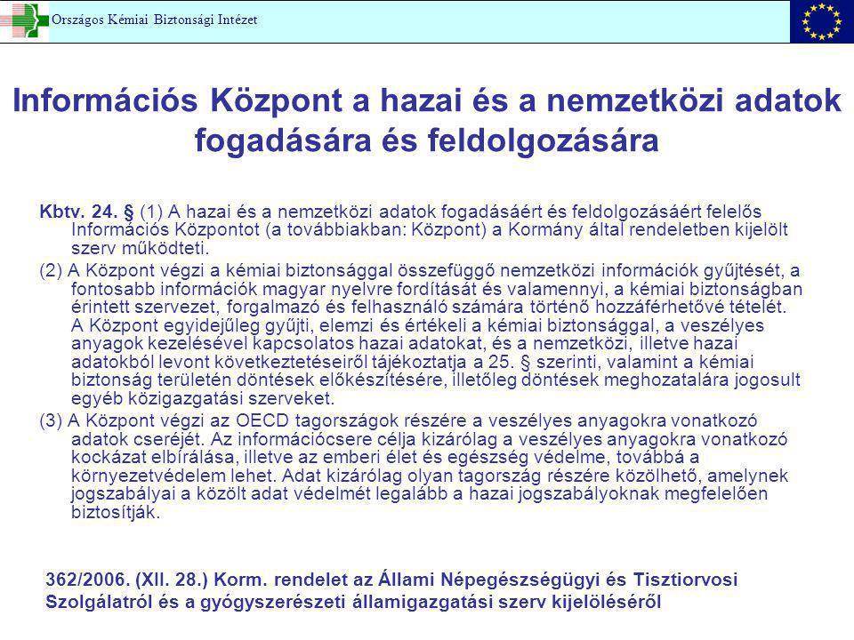 Információs Központ a hazai és a nemzetközi adatok fogadására és feldolgozására Kbtv. 24. § (1) A hazai és a nemzetközi adatok fogadásáért és feldolgo
