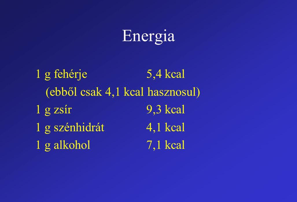 Energia 1 g fehérje5,4 kcal (ebből csak 4,1 kcal hasznosul) 1 g zsír9,3 kcal 1 g szénhidrát4,1 kcal 1 g alkohol7,1 kcal